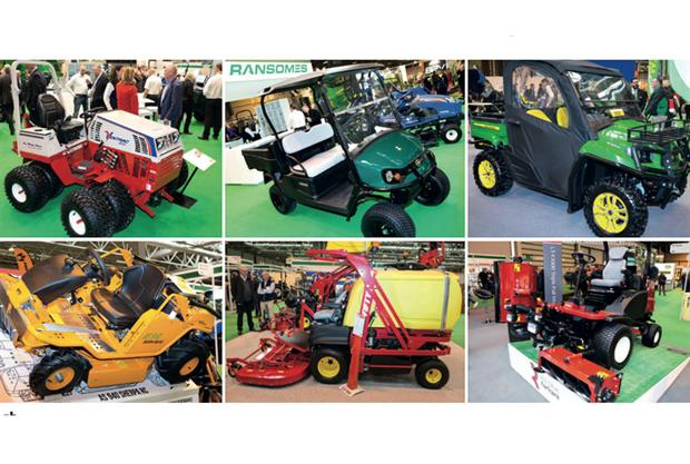 On show (clockwise from top left): Ransomes' Ventrac 4500 diesel tractor, Cushman Hauler from Ransomes, John Deere Gator XUV 590i, Toro LT-F3000 triple flail mower, Gianni Ferrari Turbo 4 Fifty and AS 940 Sherpa from PSD - images: HW