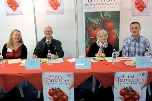 Competiton panel: Catherine Langrish, NFU South East; Andrew Tinsley, HDC; June Wilkins, amateur horticulturalist; David Northcroft, Waitrose - image:BTGA