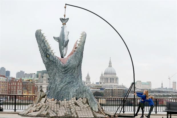 The stunt celebrates Jurassic World's release on Digital HD, 3D Blu-ray, Blu-ray and DVD