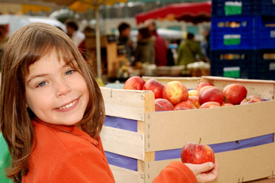 A market stall was used to promote healthy living, including handing out vouchers for fruit and vegetables (Photograph: istock)
