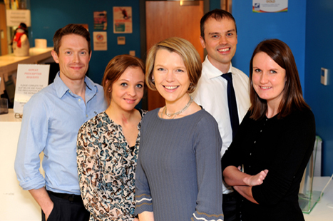 The Bodey Medical Centre team: Dr Oliver Atkinson, practice nurse Chloe Woods, Dr Siobhan Macintyre, Dr Stephen Tomkinson and Dr Jenny Wilkins (Picture: Michele Jones)