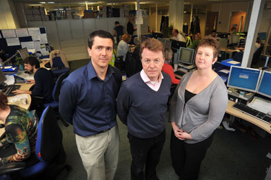 Dr Peter Devlin (centre) with BICS clinical co-director dr Jonathan Serjeant and operations director Zoe Nicholson