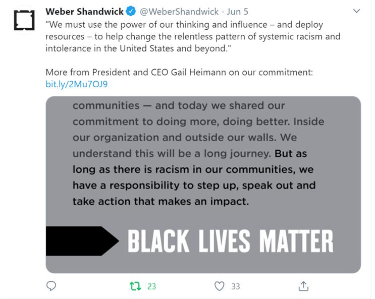 tweet by Weber Shandwick for Black Lives Matter