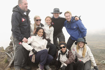 Comic Relief: celebrities take part in Red Nose Climb