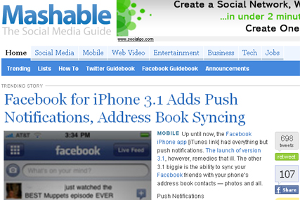 Mashable: in talks with AOL