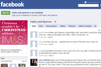 Marks & Spencer's Facebook page