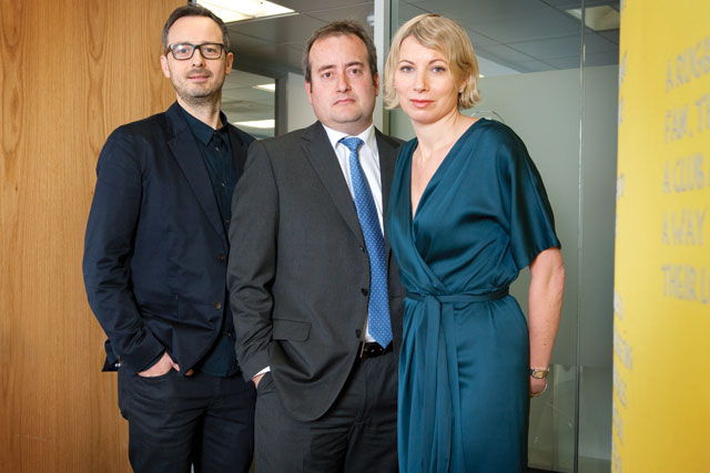 Arena Media: (l-r) Justin Gibbons, Pedro Avery and Pippa Glucklich