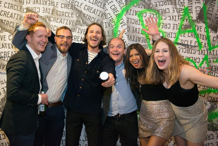 18 Feet & Rising pictured at the 2017 Creative Circle awards (L-R): Barnard; Thacker; Louis Jopling (creative); Iain Corby, deputy CEO at client BeGambleAware; Carpen; and Emma French (account manager)