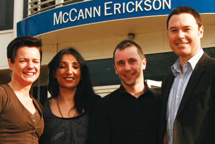 Universal McCann:Amy Eddy, Sushma Sharma and James Wood with managing director of Universal McCann Central, Kevin Murphy