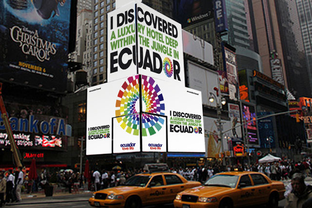 Ecuador tourism: Leagas Delaney's ad in Times Square, New York