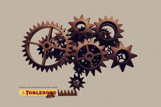 Toblerone invokes cogs of a Swiss watch