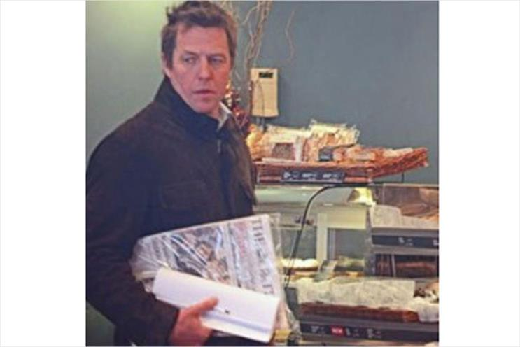 Hugh Grant: seen taking another title to breakfast