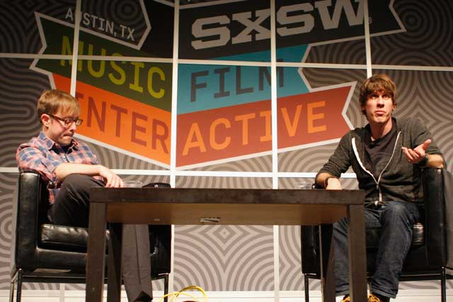 Foursquare's founder Dennis Crowley (right)