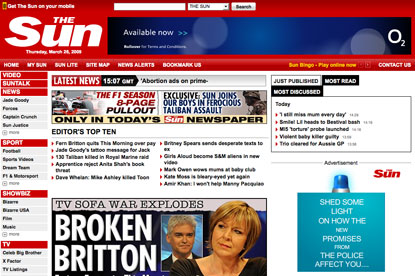 The Sun...online hits outstrip Guardian