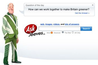 EDF Energy promotes Team Green Britain on Ask Jeeves homepage