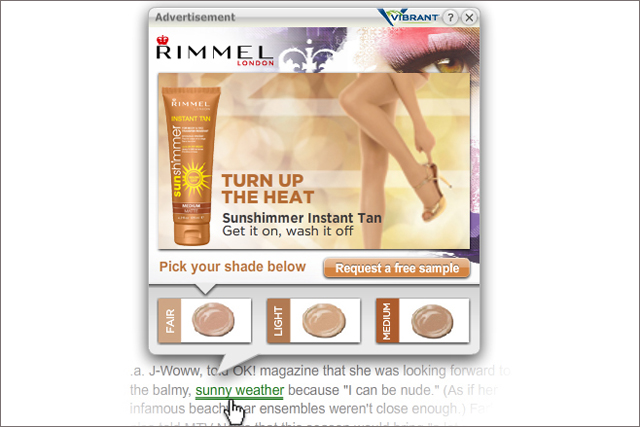 Rimmel: promotes latest products via interactive in-text ads