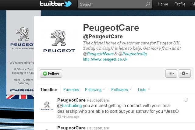 Peugeot: creates Twitter customer care account
