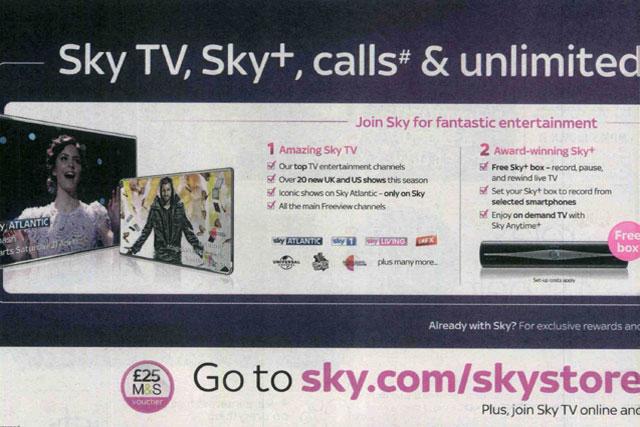 Sky: ASA bans print ad