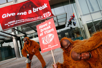 Greenpeace: protesters outside the Nestlé HQ