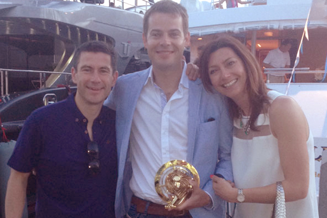 Victorious: (from left) GroupM's Steve Hatch (MEC), Mark Creighton (Mindshare) with Gold Lion and Lindsay Pattison (Maxus)