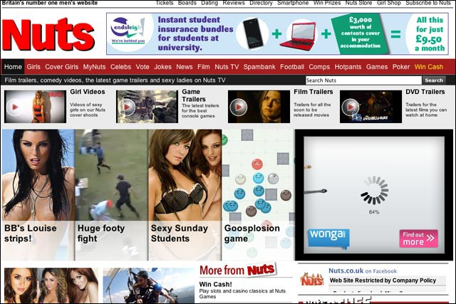 Nuts: number one website in men's lifestyle sector according to Experian Hitwise