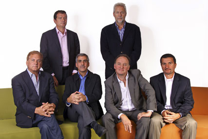 Axiology: new company's principals, including Rutherford (seated, second from right)