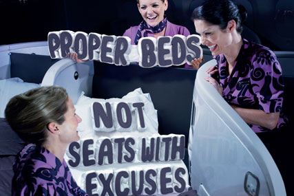 Air New Zealand: promotes proper beds in latest campaign