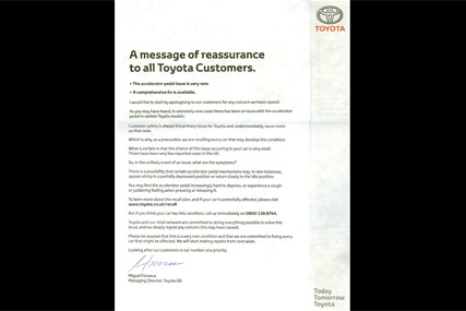 Toyota ad: aimed at reassuring customers