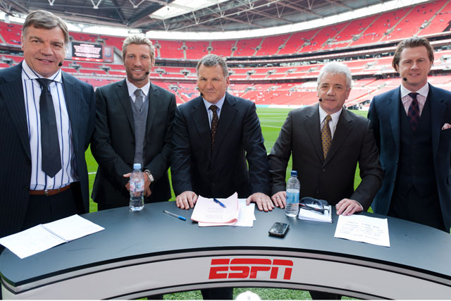 ESPN: the channel's FA Cup coverage is led by presenter Ray Stubbs (centre)