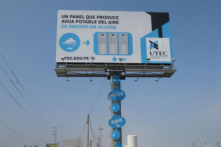 Clear Channel billboard converts humidity into drinking water
