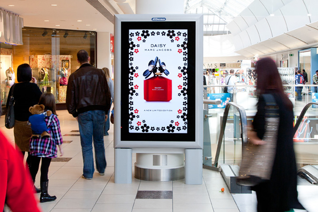 Whether digital or printed, shopping centres are a great place to promote your retail offerings, especially if you have a brick and mortar location near by like this mobile phone advertisement.
