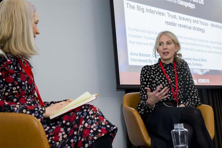 Anna Bateson (r) in conversation with Nicola Kemp