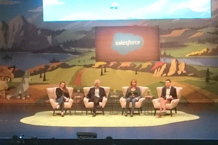 Salesforce panel: Terah Lyons (partnership on AI); Daugherty; Yearsley; and Zvika Krieger (World Economic Forum)