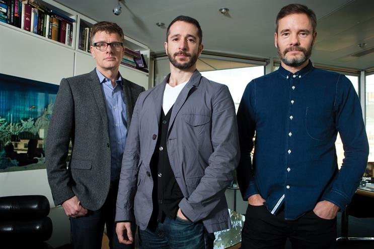 AMV: Grieve (r) and Rossi (c) will run the 70-strong creative department, reporting to Brazier