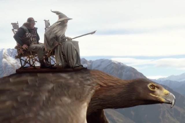 Air New Zealand safety film: Tolkien geek and Gandalf preparing to demonstrate the brace position in the event of an emergency landing
