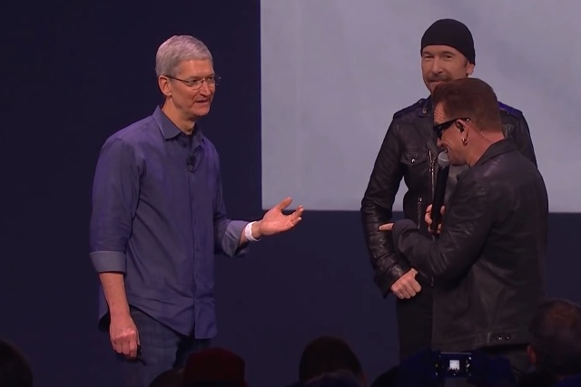 Tim Cook and U2: onstage at September event announcing free album for iTunes users