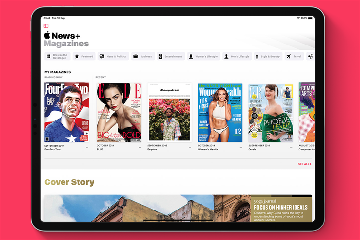 Apple News+: costs £9.99 a month