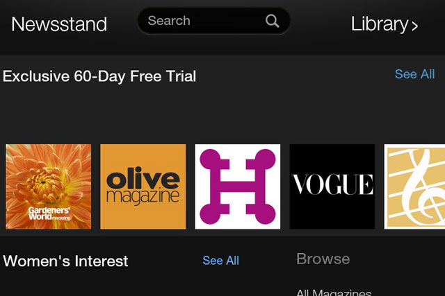 Amazon Newsstand: promotes Immediate Media titles Gardeners'  World and Olive