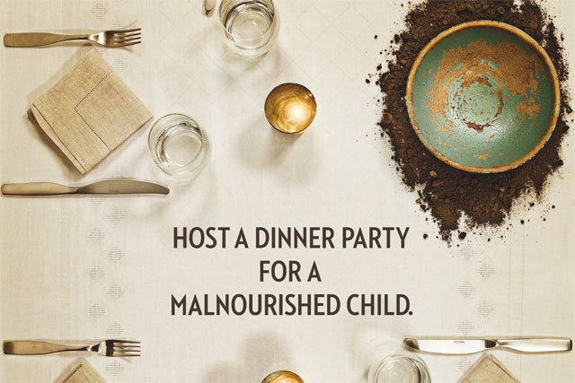 Action Against Hunger: asks supporters to host a dinner party for charity
