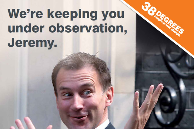 Pro NHS ad warns Jeremy Hunt 'we're watching you'