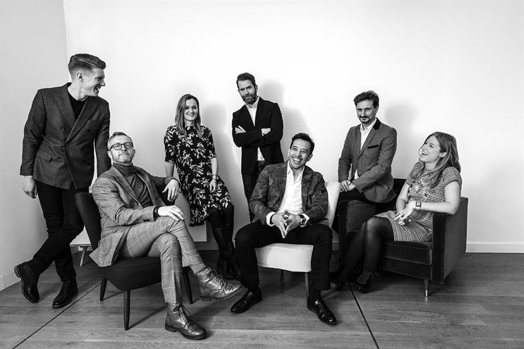 (l-r): Buchanan, client services director; Quinn, chief strategy officer; Caulfield, business director; Hill, executive creative director; Foo, CEO; Desouches, managing director, New Macho; Proctor, business director