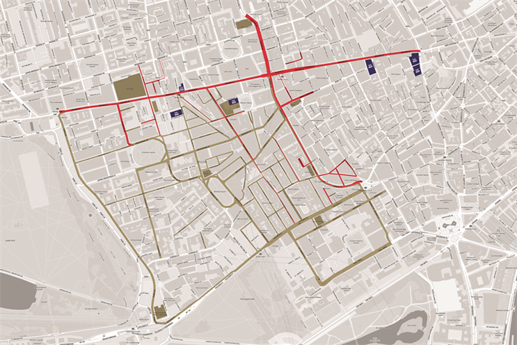 Streets in red are covered by the New West End Company; the gold area is the London Luxury Quarter