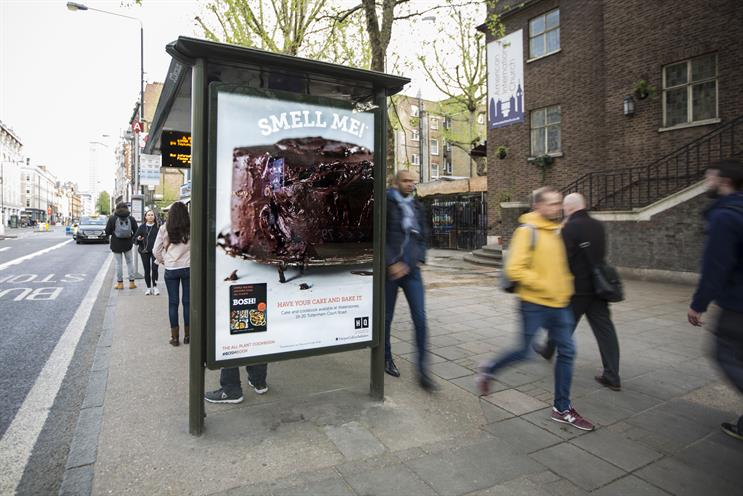 HarperCollins installs scented bus shelter to target commuters at 'point of hunger'