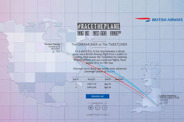 BA: promotes the launch of its Dreamliner fleet with #RaceThePlane competition