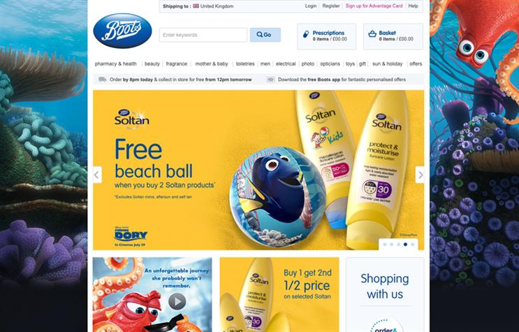 Boots partners with Disney in Finding Dory promotion for Soltan