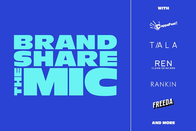 #BrandShareTheMic: backed by brands including CoppaFeel!, Tala and REN
