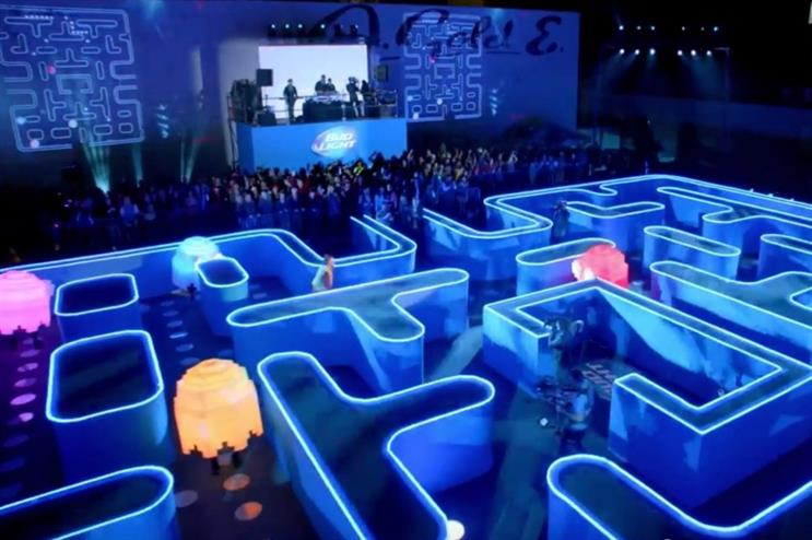 Budweiser's TV and YouTube ad for the 2015 Superbowl featured a live Pacman game