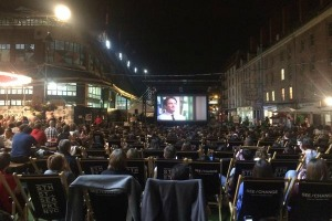 Fans of Williams watch the film at the Seaport in New York