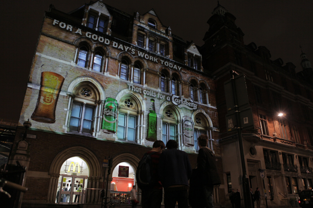 Invent's Carlsberg Liverpool Street projection