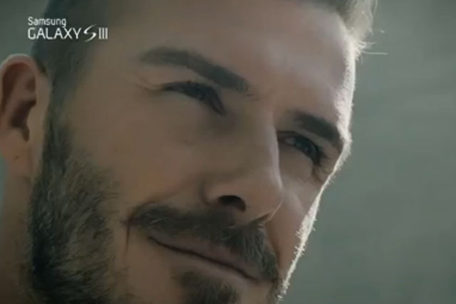 David Beckham: promotes the Samsung Galaxy SIII